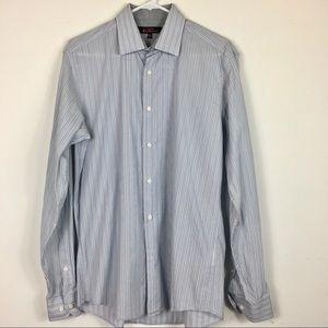 Ben Sherman Dress Shirt Striped Blue White 15.5
